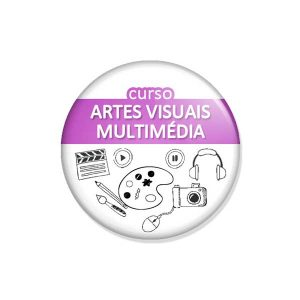"crachá ""curso ARTES VISUAIS MULTIMÉDIA"""