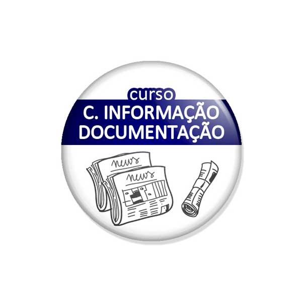 """crachá """"curso C. INFORMAÇÃO DOCUMENTAÇÃO"""""""
