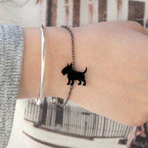 pulseira bull terrier preto