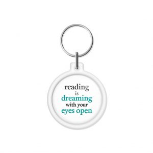 "porta-chaves ""reading is dreaming with your eyes open"""