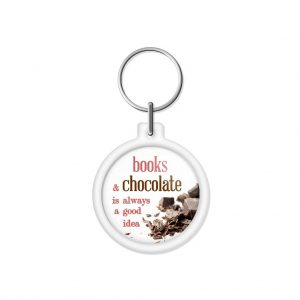 "porta-chaves ""books & chocolate is always a good idea"""
