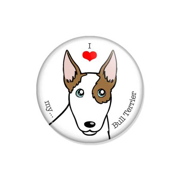 """crachá ou íman """"I love my Bull Terrier"""""""