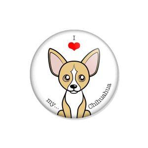 """crachá ou íman """"I love my Chihuahua"""""""