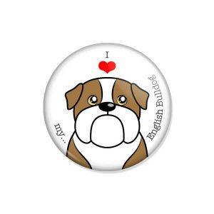 """crachá ou íman """"I love my English Bulldog"""""""