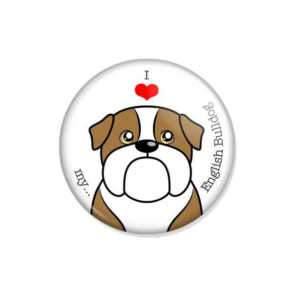 "crachá ou íman ""I love my English Bulldog"""