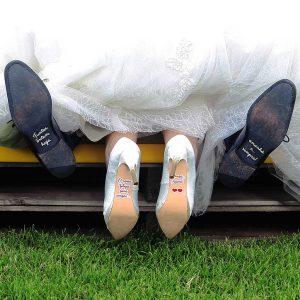 """autocolantes para sapatos """"juntos, ontem, hoje, amanhã e... sempre!"""" + """"o nosso felizes para sempre... começa agora!"""""""