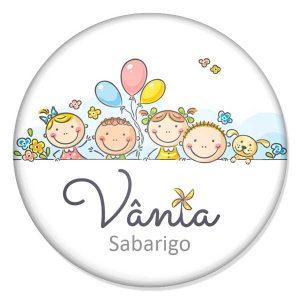 "crachá ""Vânia Sabarigo"""